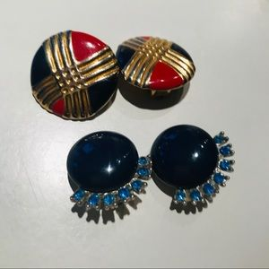 Vintage Clip Ons Bundle - Red, Blue, Rhinestones